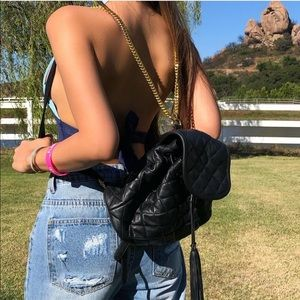 Handbags - Black leather backpack gold chain